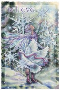 Fairy cards mermaid cards fantasy art greeting cards grateful 5x7 greeting card white envelope inside reads wishing you a magical holiday and a new year filled with peace m4hsunfo